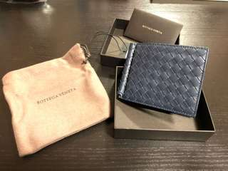 Bottega Veneta BV Intrecciato leather money clip wallet (Blue) 100% New EU 銀包