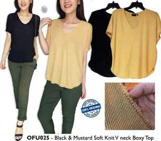 Out From Under Black & Mustard Soft Knit V neck Boxy Top