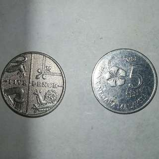 British 2009 5pence coin