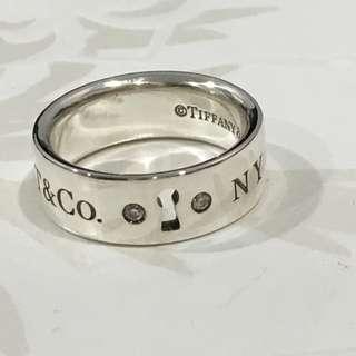 Authentic Tiffany & Co. NY Key Hole Lock Band Ring 2 Diamonds Silver Ring #4.25