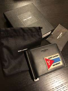 Saint Laurent Universite patch Wallet Money Clip Brand New EU
