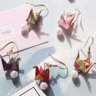 Origami Crane Dangling Earring With Pearl