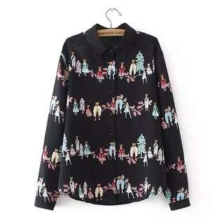 (XL~4XL) 2018 spring Korean fashion cats loose cat long-sleeved shirt