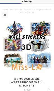 💋 REMOVABLE 3D WATERPROOF WALL STICKERS
