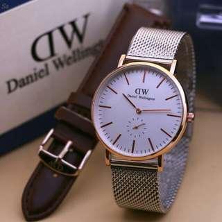 jam tangan dw paket free tali Kulit