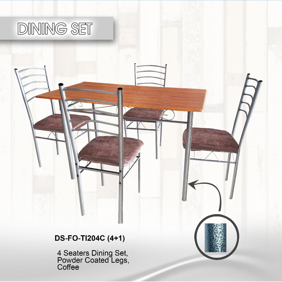4 seater dining set, powder coated legs coffee