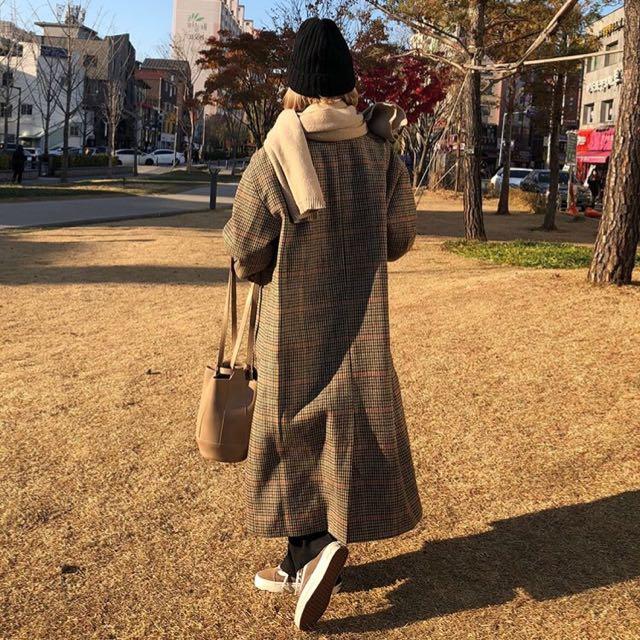 92pleats酪梨可頌細格紋大衣外套