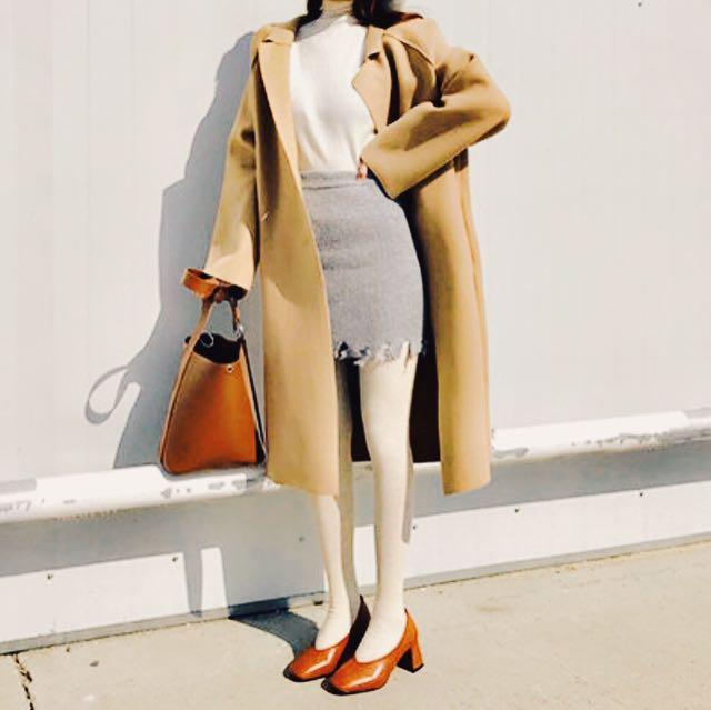 開襟駝色長版外套