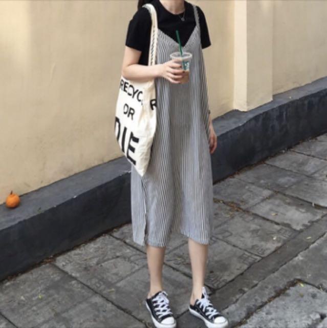 韓版條紋吊帶裙
