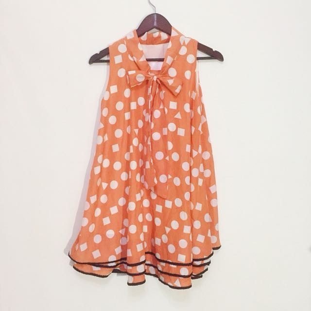 古著復古幾何粉橘洋裝