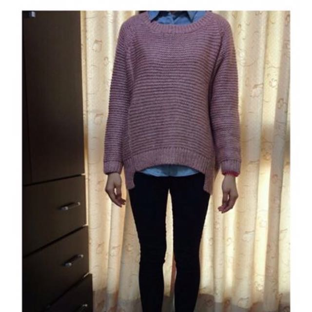 黑粉混色針織毛衣