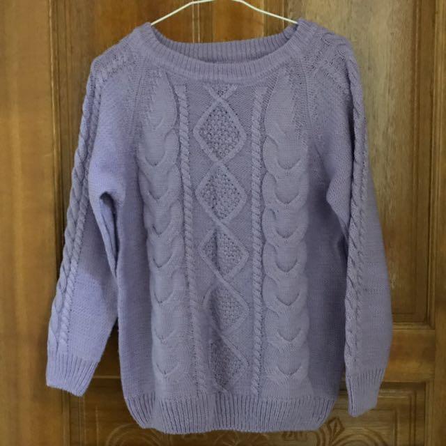 紫色針織毛衣
