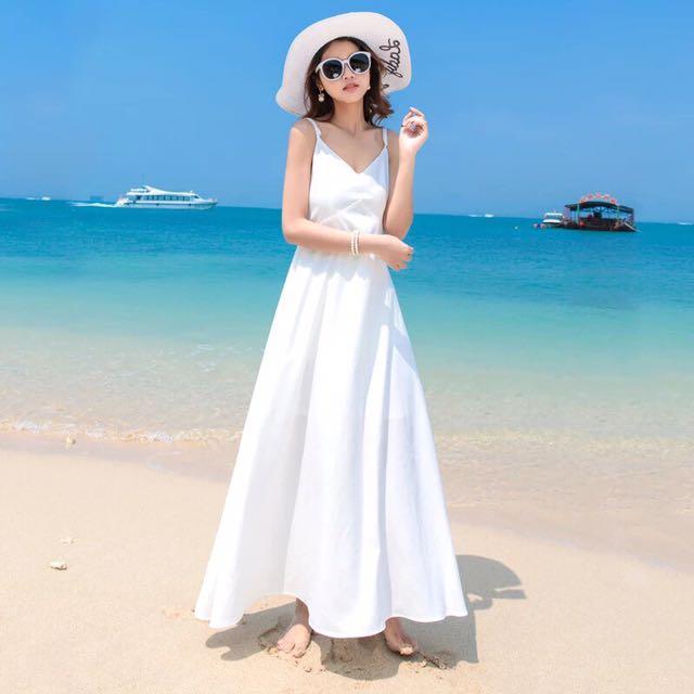 波西米亞風白色長裙