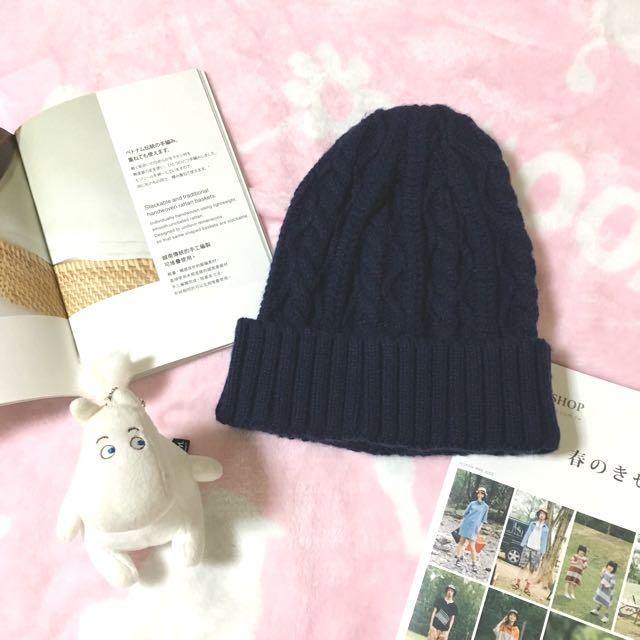 素色毛帽 深藍