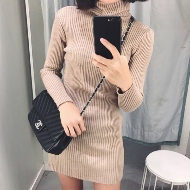 高領針織包臀連衣裙 五色