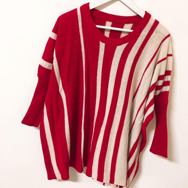 長版寬細條拼接毛衣 針織上衣