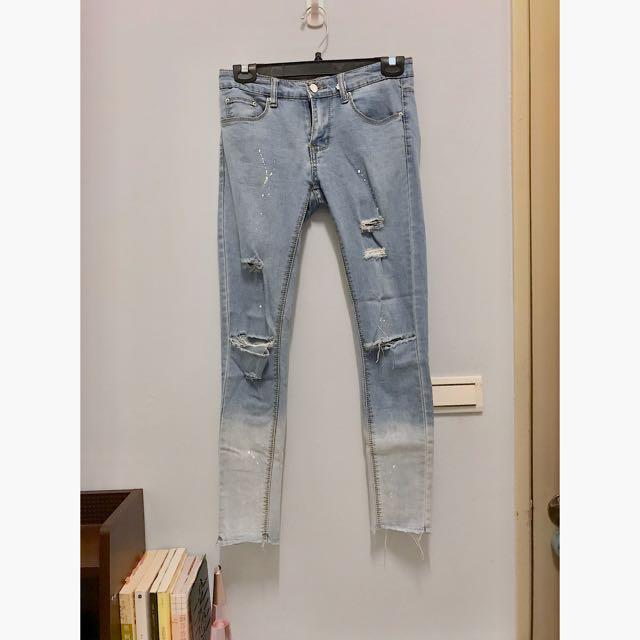 漸層牛仔褲 九分牛仔褲 刷破牛仔褲 刷破漸層牛仔褲
