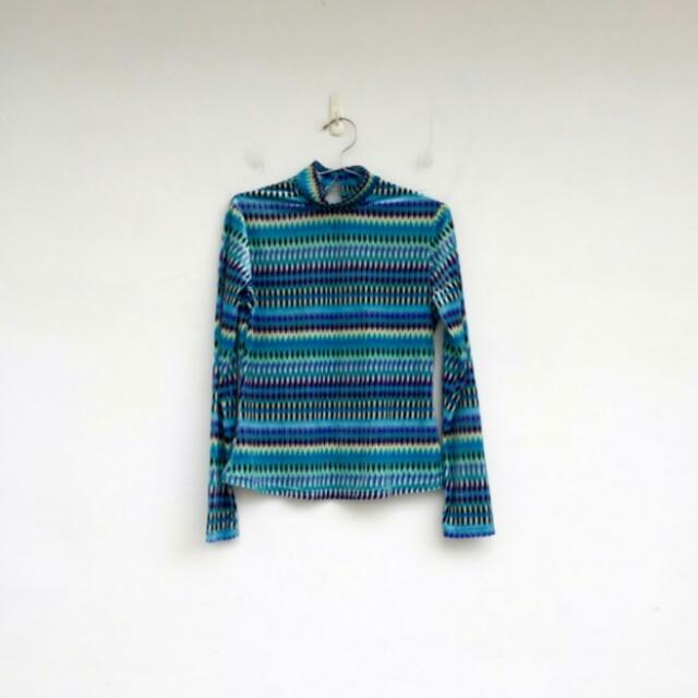 藍色印花絨面絨布上衣 古著 vintage