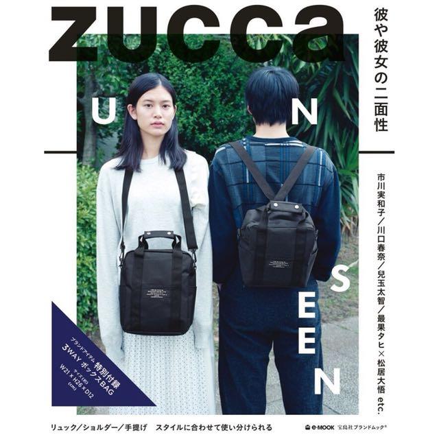 日本雜誌包 ZUCCA 男女通用個性潮牌多功能三用斜背 側背 後背 手拿包 黑色