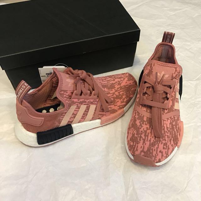 正全新ADIDAS NMD_R1 慢跑鞋運動鞋球鞋(4.5/37.5/23)乾燥玫瑰粉色配黑色