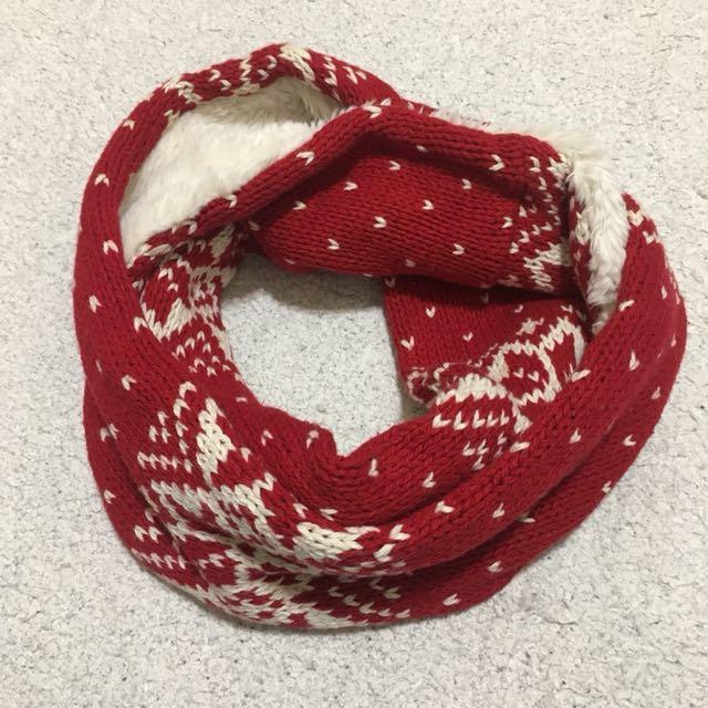 🧣A&F 紅色針織圍巾.雙面脖圍