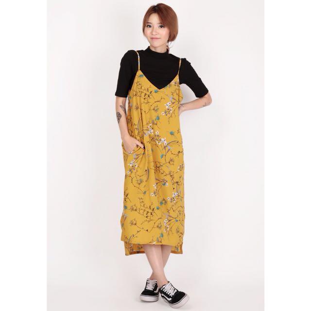 Arcade Yuri floral slip dress, mustard