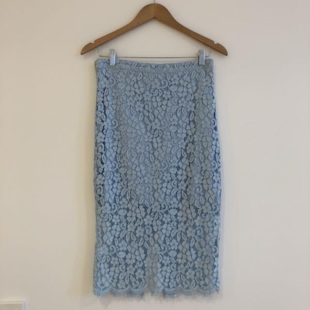 Bardot baby blue lace skirt