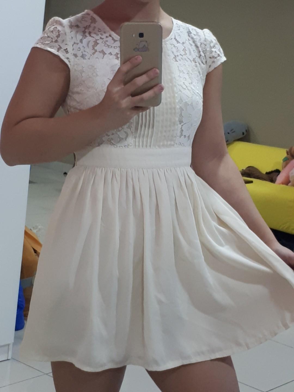 Beige off white lacey top chiffon dress