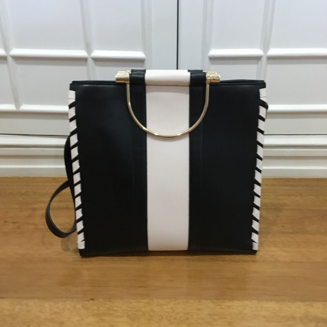 Black white print bag with removable strap and metal handles