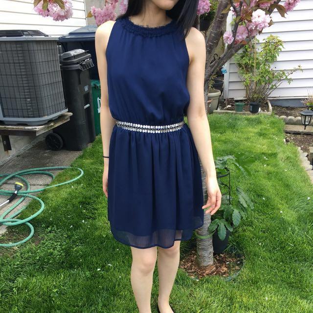 Navy blue sequin belt dress