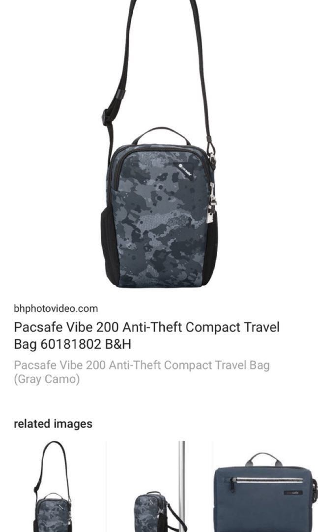 BM Pacsafe Vibe 200 Anti-Theft compact bag (Grey Camo color) 77427e976adc4
