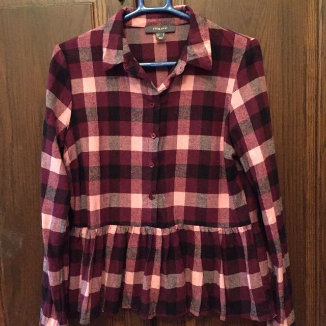 0d5a8e2eb19763 BN Primark Long sleeves red/pink checked blouse top, Women's Fashion,  Clothes, Tops on Carousell