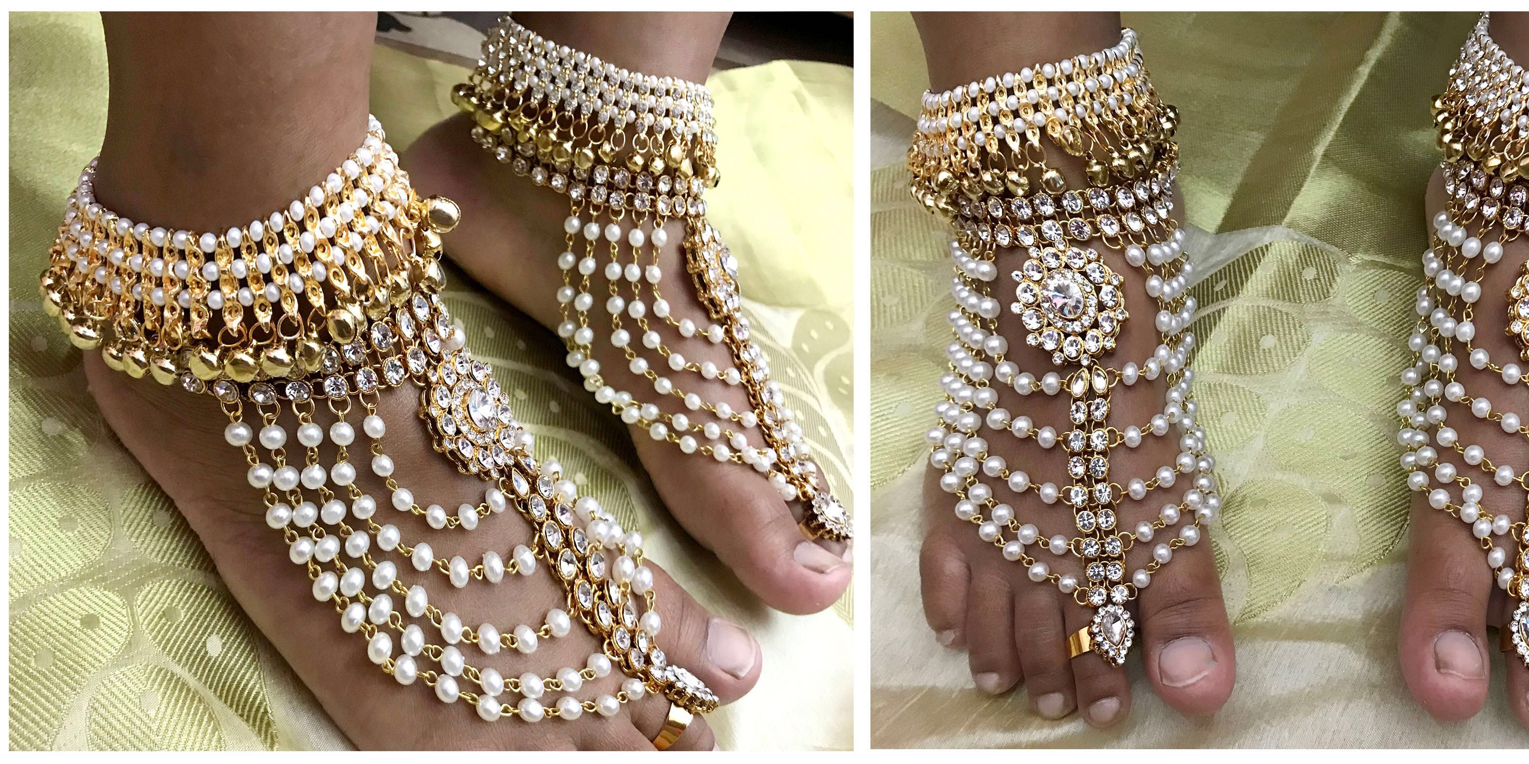ankle shaped anklets sandal gold bracelet steel beads pin tornozeleira woman barefoot pleated stainless anklet foot women heart jewelry