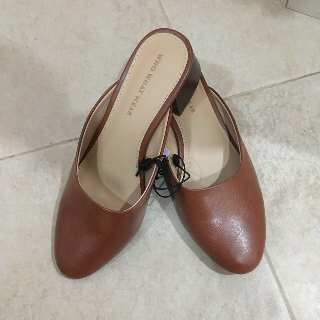 Brown mules with heel