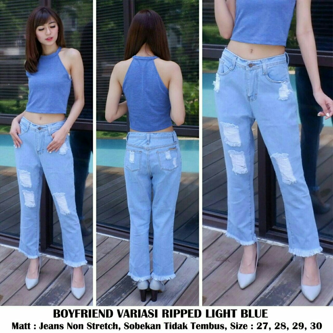 Celana jeans boy friend variasi ripped jeans cutbray jeans sobek, Olshop Fashion, Olshop Wanita on Carousell
