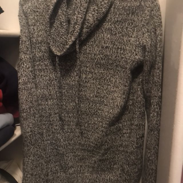 Cowl Neck Knit Hoodie