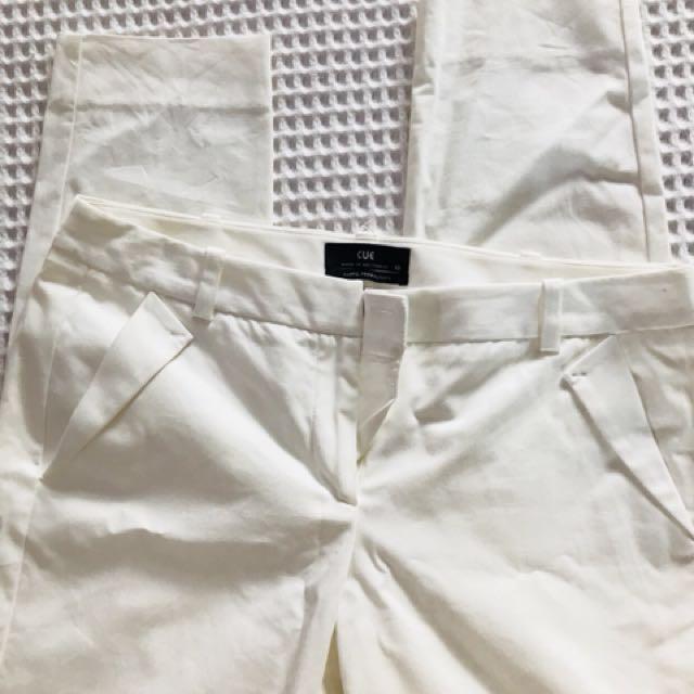 CUE white dress pants Size 10