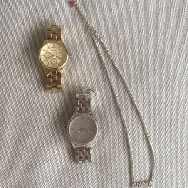 DKNY silver watch and Guess necklace