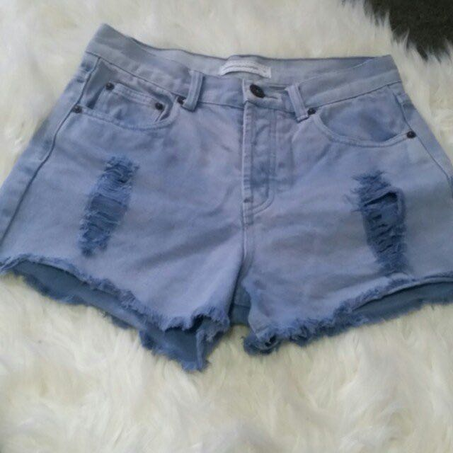 Eleven Raindrops High waisted Shorts Size 10 - Blue Summer Ripped Denim