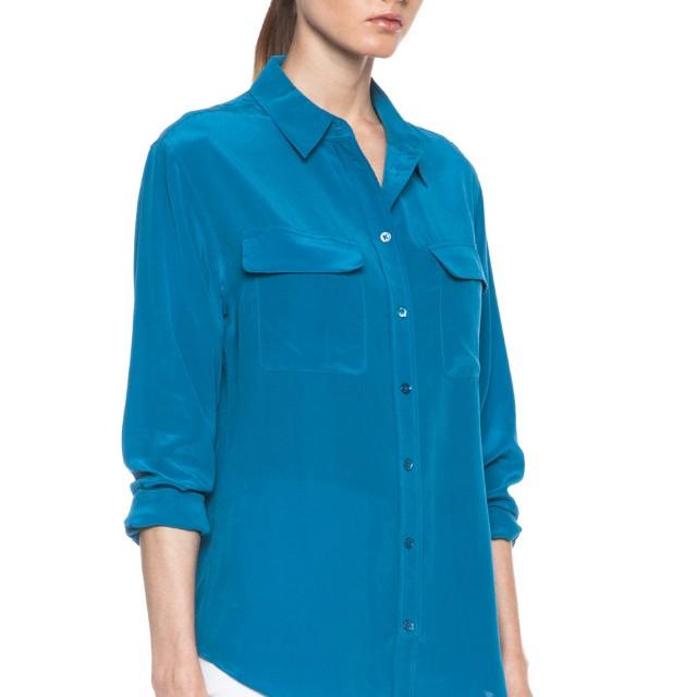 Equipment Signature Silk Blouse in Blue Sapphire, size Medium