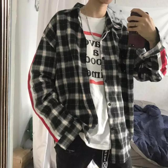 Fashion Checkered Shirt With Stripes Sleeve Grid Tee Jacket Swag Style Trend Oversized Dope Street wear