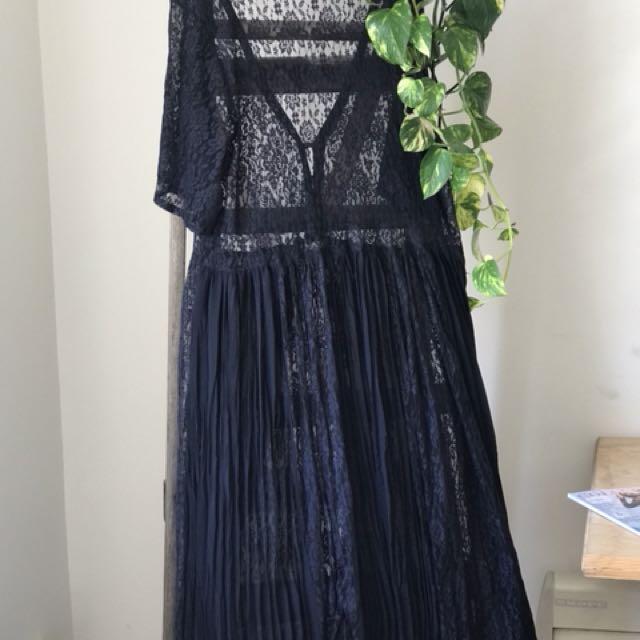 Festival lace sheer maxi dress