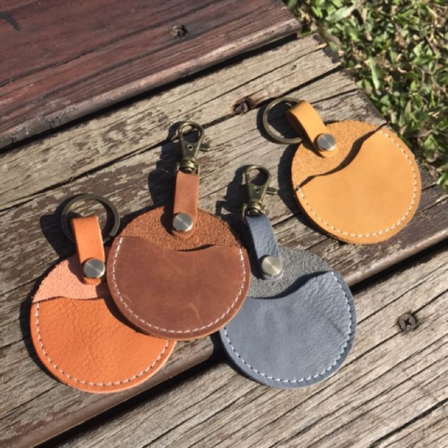 Gogoro鑰匙 鑰匙皮套 真皮革(植鞣皮、瘋馬皮)樸素鑰匙圈