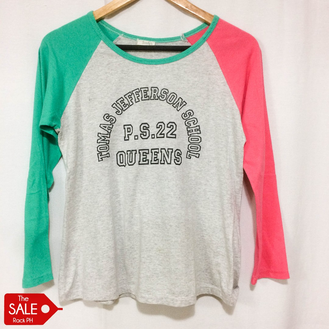 Gray Shirt with Green and Pink Long Sleeves