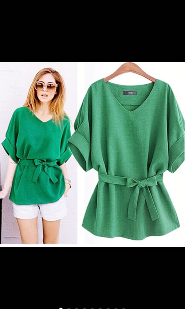 GREEN TIED BLOUSE BIG SIZE