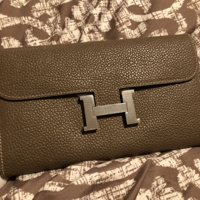 Hermes elepant grey togo leather long wallet / clutch