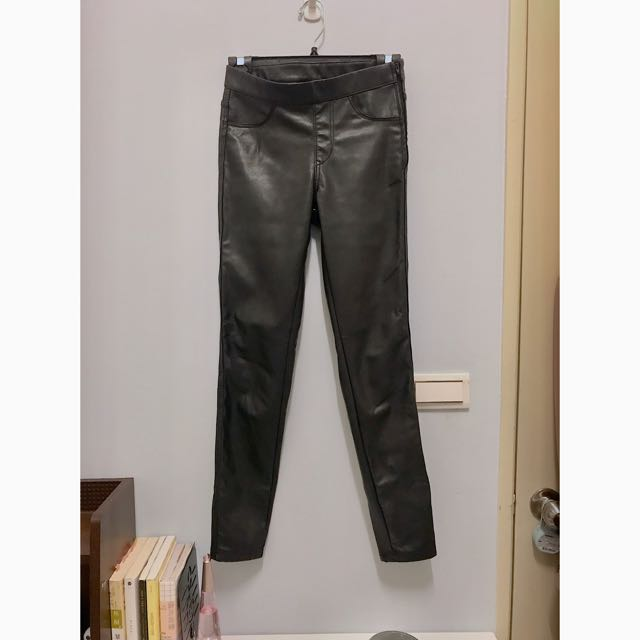 H&M 內鋪棉九分皮褲 修身皮褲 皮褲