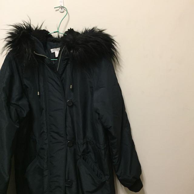 H&M oversize 暗藍綠色防風外套