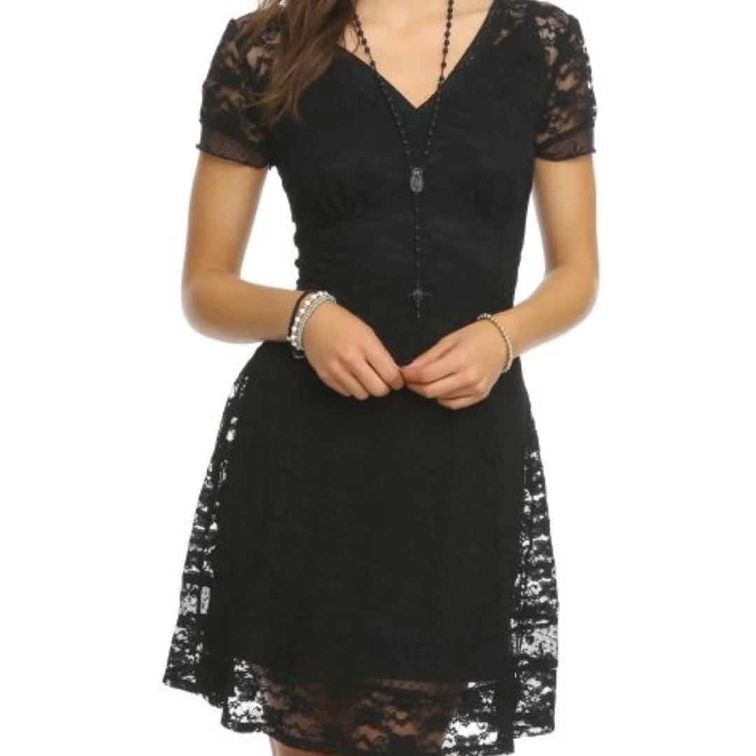 Hot Topic Royal Bones Lace Black Dress