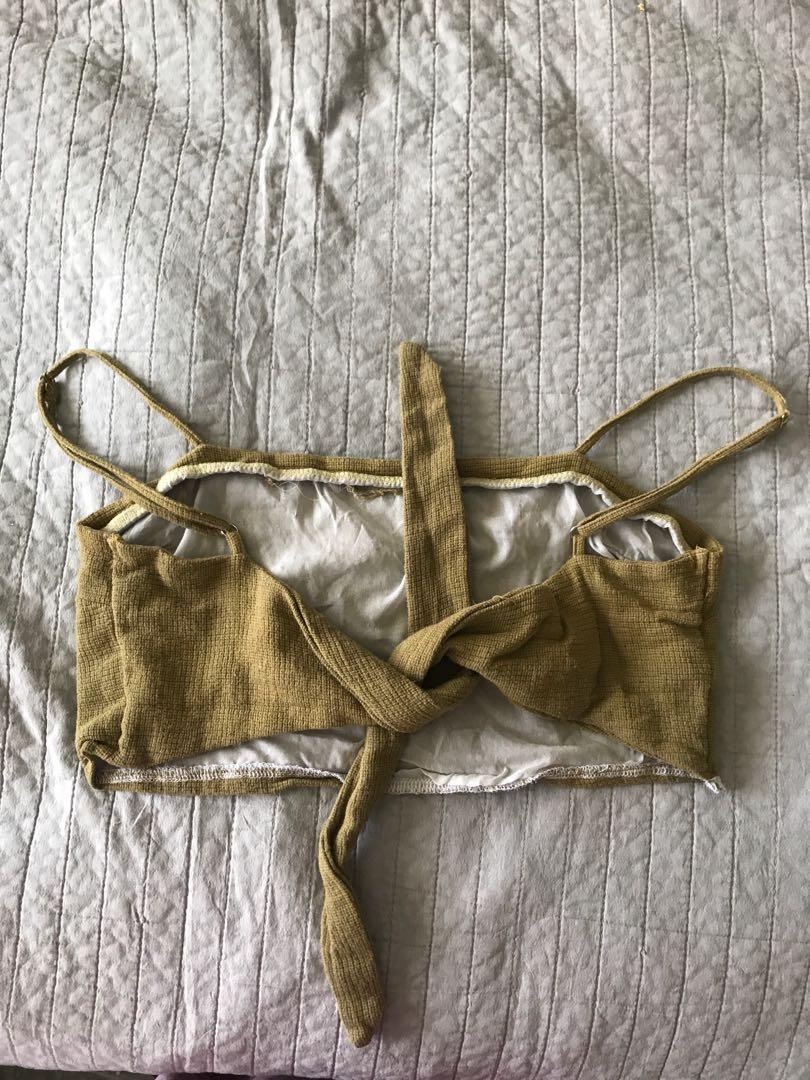 Khaki/brown Tie up top